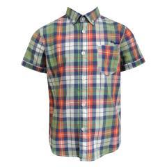 Jungenhemd Hemd kurzarm kariert, blau-grün - 3149