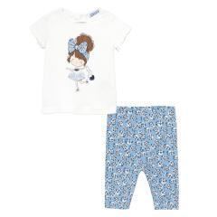 "Mädchen Baby Set 2-teilig kurzarm Tshirt, Leggings ""Ballerina"",weiß/hellblau - 1714"