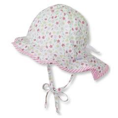 Mädchen Sommermütze zum Binden mit Nackenschutz, Flapper UV-Schutz 30, weiß, Blümchen - 1401921