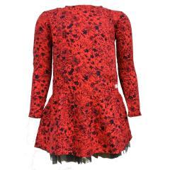 Mädchen langarm Kleid Blumenprint, rot - 434023