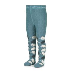 """Jungen Kinder Baby Winter Thermo Strumpfhose mit Vollplüsch gemustert """"Mammut""""-Motiv, dunkeltürkis - 8722101"""