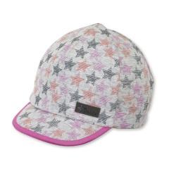 """Mädchen Kinder Baby Schirmmütze Sonnenhut Cap mit LSF UV-Schutz 50+ """"Sterne"""",  silbergrau-pink – 1502060"""