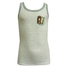 Mädchen Unterhemd Tank Top Pferde gestreift, weiß - 159108
