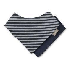 Jungen Baby Wende-Halstuch Dreieckstuch, dunkelblau einfarbig gestreift - 1101800