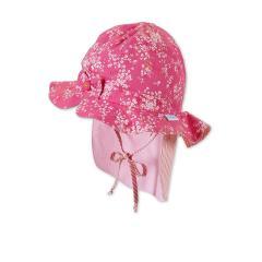 Mädchen Sommerhut zum Binden mit Nackenschutz Blumenmotiv und Schleife, pink