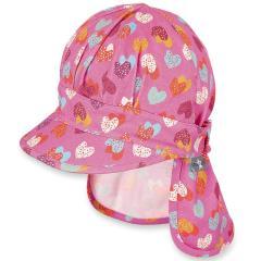 Mädchen Schirmmütze mit Nackenschutz, LSF 15, rosa mit Herzen - 1421924