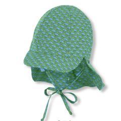 """Jungen Baby Kinder Schirmmütze zum Binden LSF UV-Schutz 50+ Sommermütze Schildmütze mit Nackenschutz """"Wale"""", grün-hellblau – 1612032"""