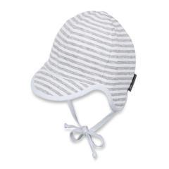 Jungen Baby Schirmmütze, Sommermütze zum Binden, UV-Schutz 50+, weiß/grau - 1611901
