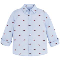 Jungen Hemd gestreift mit langen Armen und Auto Motiv, hellblau - 4.146hb