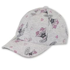 "Mädchen Baseball Cap Cappi Sonnenhut mit LSF UV-Schutz 50+ ""Blumen"", silbergrau – 1422004"