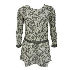 Mädchenkleid Langarm Blumenmuster Reißverschluss, Grau