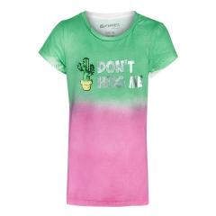 Mädchen kurzarm T-Shirt Shirt mit Spraytechnik, grün - 1191-5279