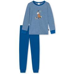 """Jungen Schlafanzug geringeltes Langarmshirt und einfarbige Schlafhose """"MAUS HEXE""""-Druck und """"Henry's Magic""""-Schriftzug, blau - 175347"""
