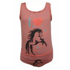 Mädchen Unterwäscheset Slip und Unterhemd Pferdemotiv gestreift, coral