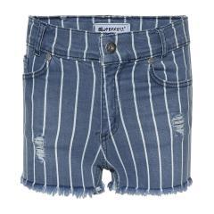 Mädchen Sommer Shorts, kurze Hose, gestreift, jeansblau -1201-3243