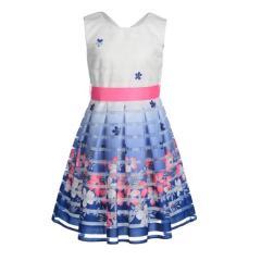 Mädchen Festkleid Sommer Kleid mit Blumen, blau - 594164