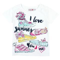 Boboli Mädchen T-Shirt kurzarm mit Motiv Sommerschuhe, weiß - 457028