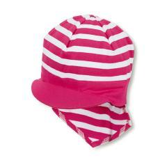 Mädchen Baby Sommermütze mit Schirm und Nackenschutz, Piratentuch, UV-Schutz 50+, pink weiß - 1501920