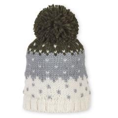 Mädchen Strickmütze Wintermütze mit Microfleece und Bommel, dunkelgrün beige - 4721913