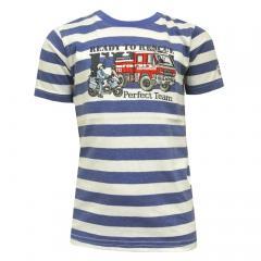 Jungen T-Shirt Kurzarm-Shirt Feuerwehr gestreift, blau - 73112136
