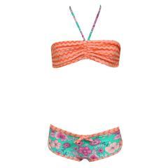 Bustier-Bikini Zweiteiler Bikini Mädchen mit Blumen gemustert, mehrfarbig - 440371