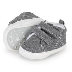 Baby Jungen Schuhe mit Klettverschluss gefüttert Plüsch Krabbelschuhe mit rutschfester Sohle, silbergrau - 5301900