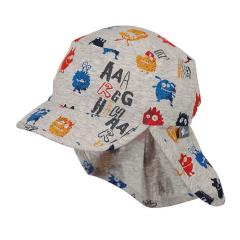 """Jungen Schirmmütze, Sommermütze mit Nackenschutz, UV-Schutz 50+, grau """"Monster"""" - 1611947"""