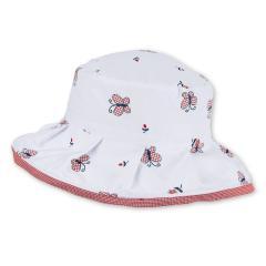 """Mädchen Sonnenhut Reif-Hut mit LSF UV-Schutz 15 """"Schmetterlinge"""", weiß-rot – 1422034"""