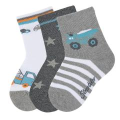 "Jungen Baby 3 Paar Söckchen Socken 3er-Pack ""Abschleppauto/LKW"", silbergrau, weiß - 8322021"