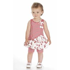 Festliches Kleid mit Hose Kirsche, weiß-rot