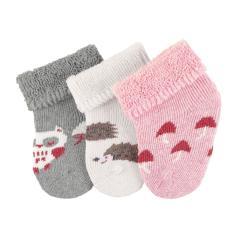 """Baby Mädchen Erstlingssöckchen 3er Set Plüsch Socken """"Eule Igel"""", beige grau rosa mel. - 8201916"""