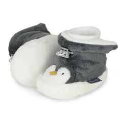 """Baby Mädchen Jungen Schuhe gefüttert Babyschuhe Fleece """"Pinguin"""", grau - 5101981"""