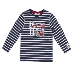 Salt&Pepper Jungen T-shirt gestreift langarm mit Feuerwehr-Motiv, dunkelblau – 93111151