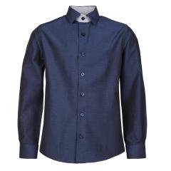 Jungen festliches Hemd slim, langarm, dunkelblau - 5549200