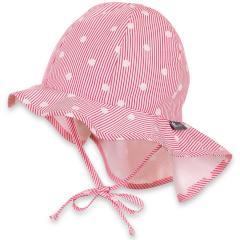 Mädchen Sommermütze zum Binden mit Nackenschutz, Flapper UV-Schutz 30, weiß pink- 1411916