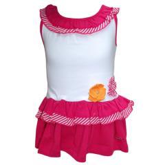 Baby Mädchenkleid, weiß-rot
