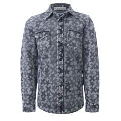 Jungen Pullover Hemd gemustert, grau - 723500