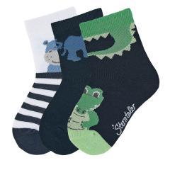 """Jungen Baby 3 Paar Söckchen Socken 3er-Pack """"Krokodil/Elefant/Nilpferd"""", marineblau - 8322022"""