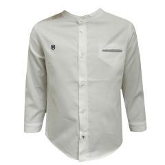 Baby Jungen festliches langarm Hemd klassisch, weiß - 1163w