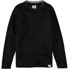 """Garcia Jungen T-Shirt Langarmshirt Pulli Sweatshirt mit hellem Kragen """"go faster"""", schwarz - H93604"""