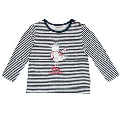 Salt&Pepper Mädchen Shirt gestreift langarm mit Möven-Motiv, dunkelblau – 93211230db