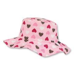 Mädchen Sonnenhut Sommerhut Herzmuster, rosa - 1421833