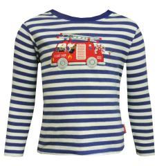 Baby Jungen Langarmshirt mit Knöpfen gestreift, blau - 75211122