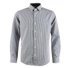 Jungen festliches Hemd Slim-Fit langarm, kariert, schwarz - 5545800schw