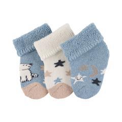"Baby Jungen Erstlingssöckchen 3er Set Plüsch Socken ""Eisbär"", hellblau mel. beige - 8201915"