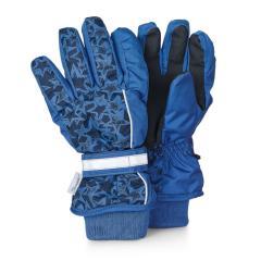 "Jungen Fingerhandschuhe gefüttert wasserdicht mit reflektierendem Reißverschluss Microfleecefutter atmungsaktiv ""Sterne"", atlantikblau - 4321910"