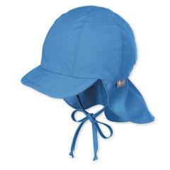 Jungen Schirmmütze mit Nacken- und Ohrenschutz zum Binden, UV-Schutz 50+, einfarbig, blau - 1511410