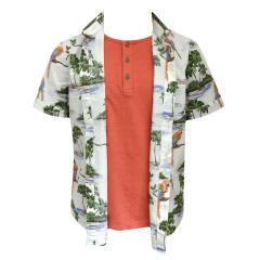 Jungenhemd Hemd kurzarm mit Papageien und Palmen, mehrfarbig - 3147