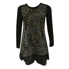 Mädchen Festkleid Kleid Leopard, schwarz