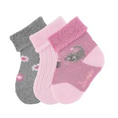 "Baby Mädchen Socken Plüsch 3er-Pack Babysöckchen Erstlingssöckchen 3 Paar gefüttert ""Katze"", rosa – 8302022"